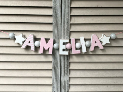 """/""""AMELIA/"""" PINK WOODEN LETTERS BABYNAME NURSERY DECOR PERSONALIZED NAME SHABBY"""