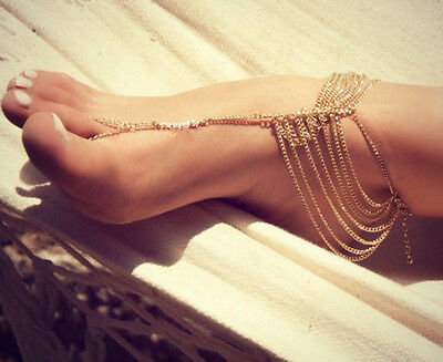 New Beach Fashion Multi Tassel Toe Ring Bracelet Chain Link Foot Jewelry Anklet