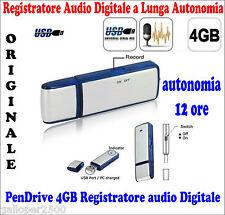 PEN DRIVE RECORDER MINI MICRO REGISTRATORE USB 4GB VOCALE AUDIO SPIA CIMICE SPY