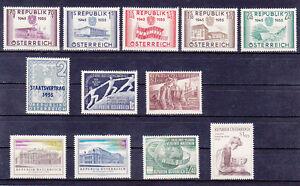 Osterreich-Jahrgang-1955-postfrisch-12-Werte