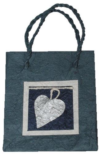blau mit Herz 15x17x8 cm    Geschenkverpackung Tüte Tragetasche Geschenktasche