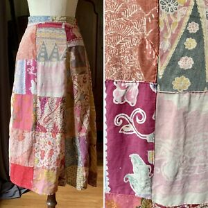 ACACIA COLLECTION Vintage Patchwork Skirt Bohemian S/M