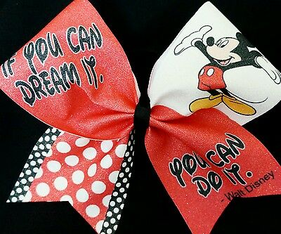 Cheer Bow - If You Can Dream It / You Can Do It - Mickey - Hair Bows