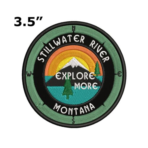 Sew-On Compass Applique Stillwater River Montana Embroidered Patch Iron-On