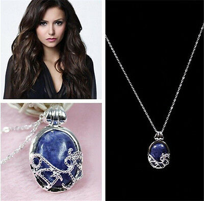 Fashion Blue Stone Pendant Necklace The Vampire Diaries Katherine Anti-sunlight
