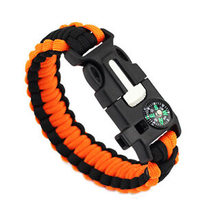 Survival Paracord 550 Bracelet Wristband Flint Fire Starter Compass Whistle Kit