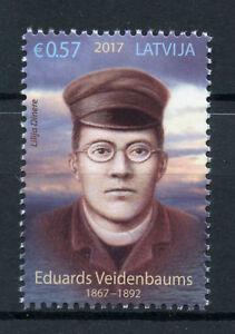 Lettonie-2017-neuf-sans-charniere-Eduard-veidenbaums-1-V-Set-poetes-poesie-litterature-timbres