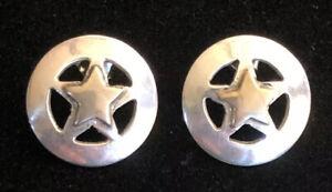 Vintage-Sterling-Silver-925-Vermeil-Star-Pierced-Earrings-4-6g-3-4