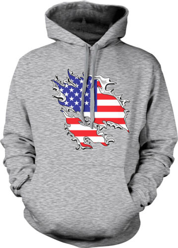 Shredded Rip Through United States of America Flag USA Hoodie Pullover