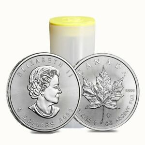 Roll of 25 - 2020 1 oz Canadian Silver Maple Leaf .9999 Fine $5 Coin BU (Lot,