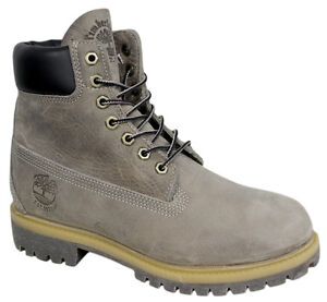 Timberland-15-2cm-Basico-Botas-hombre-Gris-Resistente-Casual-De-Piel-Con