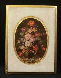 Vintage-Wooden-Plaque-Wall-Picture-Floral-Gold-Trim-Made-in-Italy