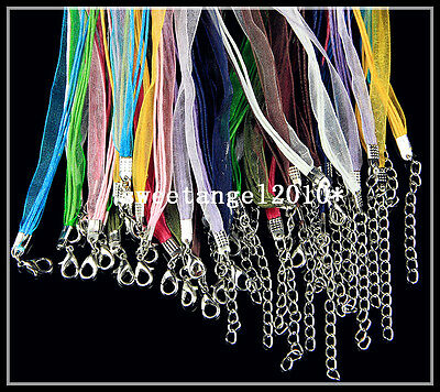 """20Pcs Mixed color ribbon cord chain Lobster Clasp necklace Jewelry Finding 18"""""""