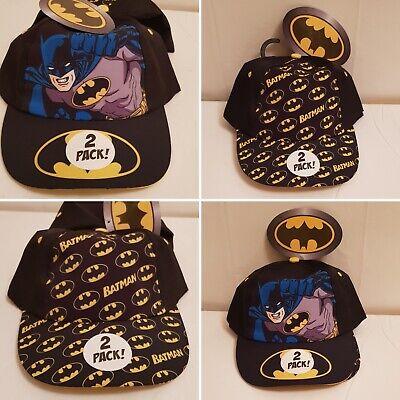 Attivo Childrens Dc Batman Nero E Giallo Caps Cappelli Pacco Doppio Taglia Unica-