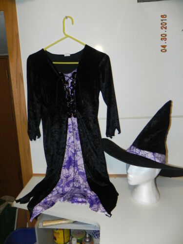 Pre-Owned Costume: Witch with hat, Purple & Black