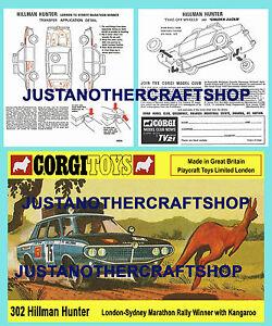 CORGI-TOYS-302-Hillman-Hunter-RALLY-AUTO-foglio-di-istruzioni-e-POSTER-SIGN
