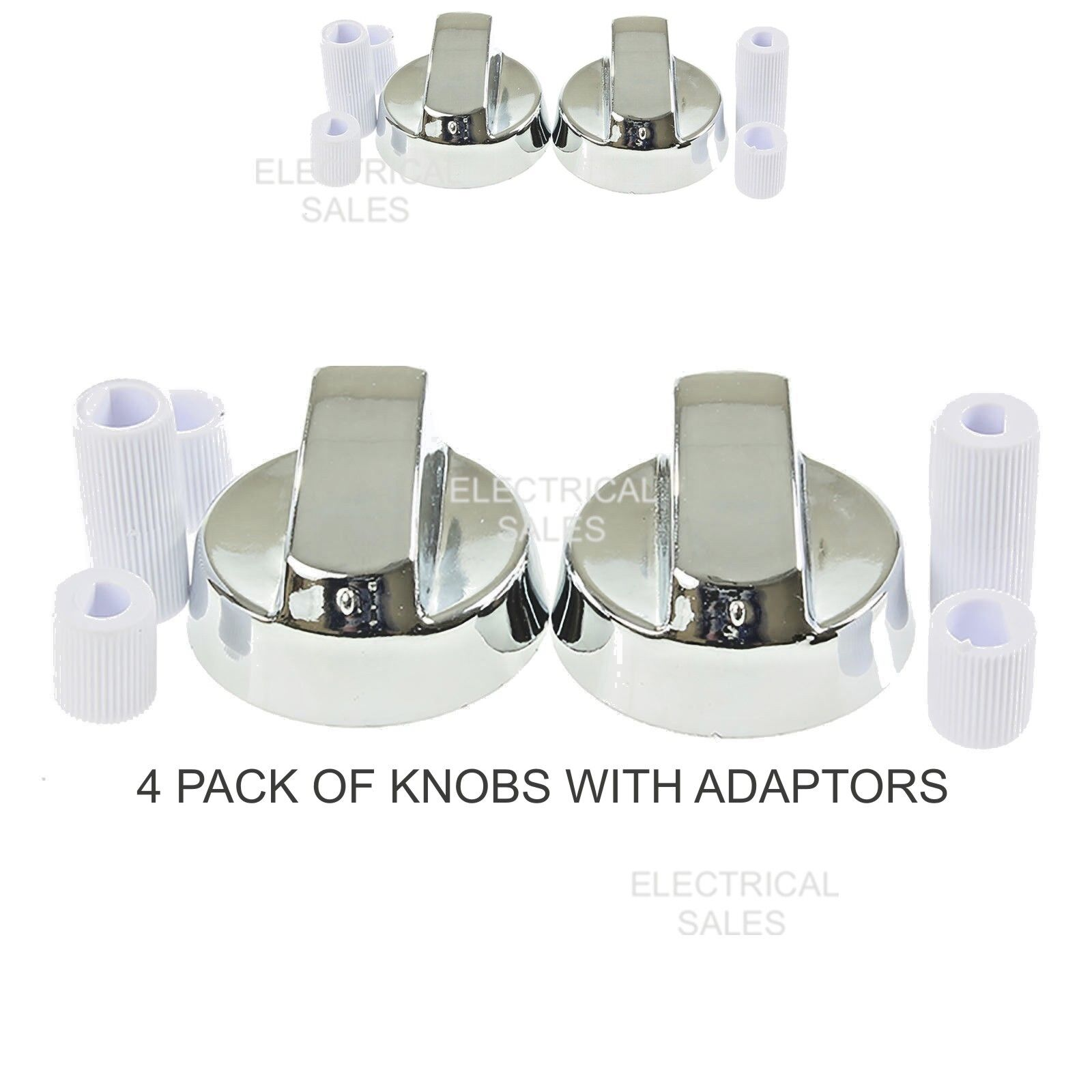 6 PACK OF KNOBS FITS BEKO COOKER OVEN SILVER HOB CONTROL KNOB DIAL /& ADAPTORS
