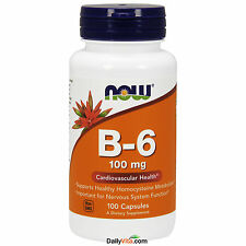 NOW Foods Vitamin B-6 100mg 100 Capsules, FRESH, Made In USA,Global Shipping