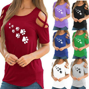 Womens-Cold-Shoulder-Short-Sleeve-Casual-T-Shirt-Ladies-Summer-Loose-Tops-Blouse
