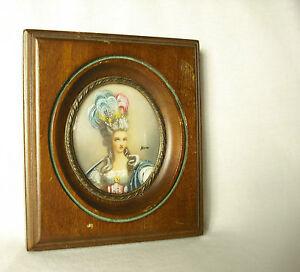 Ancienne Miniature Portrait De Femme Signé Ancient Female Miniatur-porträt
