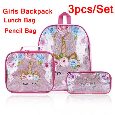 Womens Girls Unicorn Backpack Rucksack Lunch Bag Pencil Pen Bags Gifts 3 Pcs//Set