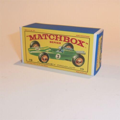 Matchbox Lesney 19 d Lotus Racing Car empty Repro E style Box
