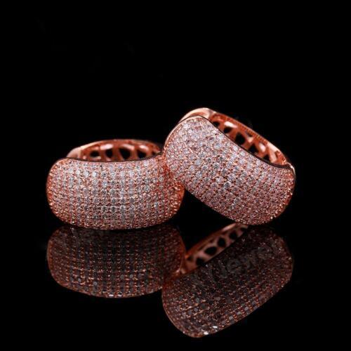 Ohrringe Creolen 18 mm ⌀ Zirkonia weiß 750er Gold 18K vergoldet rosegold O2730S