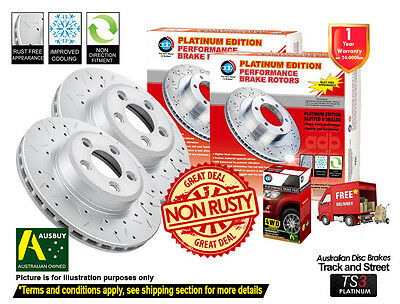 MITSUBISHI Pajero NH NJ NK NL FRONT SLOTTED DRILLED Disc Rotors & 4X4 Pads