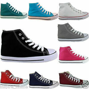 LADIES-WOMENS-HI-HIGH-TOP-LACE-UP-FLAT-CANVAS-PUMPS-TRAINERS-PLIMSOLLS-SHOES
