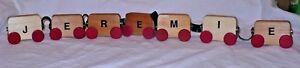 Wood-Blocks-Letters-Train-Boys-Name-Red-Wheels-Snap-on-JEREMIE-REMIE