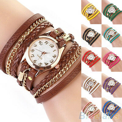 Women's Colorful Nice Vintage Weave Wrap Rivet Faux Leather Band Wrist Watch