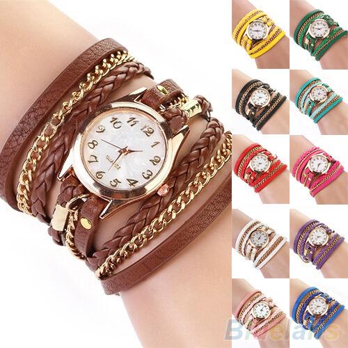 Women's Vogue Chic Candy Vintage Weave Wrap Rivet Leather Bracelet Wrist Watch