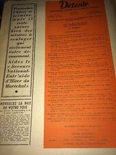 Revue DÉTENTE No 1 Du 20 Mars 1941