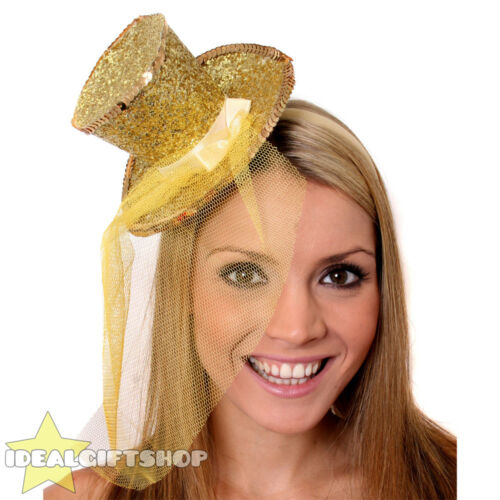 MINI TOP HAT WITH NET GLITTER FASCINATOR FANCY DRESS ACCESSORY CHRISTMAS