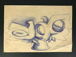 Drawing by Armando Fernandez. No title. 1981 Original signed by the artist
