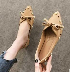 Womens-Pearls-Pointed-toe-PU-Leather-Slip-on-Loafer-Bowtie-Casual-Flats-Shoes-SZ