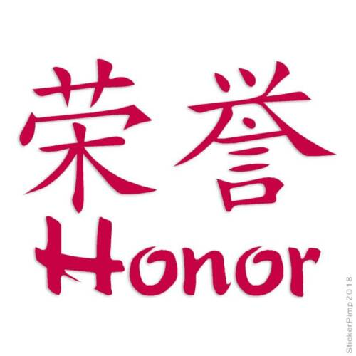 Size #2636 Honor Chinese Symbols Decal Sticker Choose Color