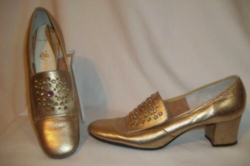 Vintage COBBLERS Gold Metallic Pastel Rhinestone D