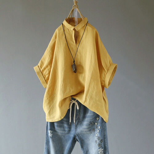 Damen Sommer Long Top Freizeit Leinen Tunika Shirts Oberteil Übergröße 44 46 48