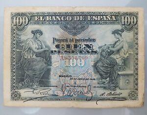 BILLETE-100-PESETAS-1906-SERIE-A-MADRID