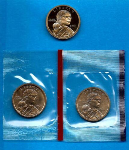 2001 P D and S BU and Gem Proof Sacagawea Native American Dollars Three Coins