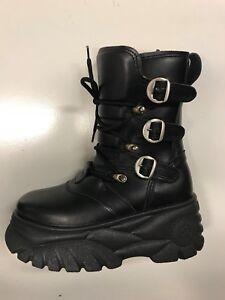 Scarpe-Stivaletti-fibbie-suola-alta-Police-883-vera-pelle-nero-black-buffalo