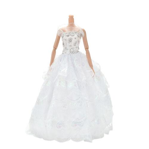 """1Pc 4 Ebenen weißes handgemachtes Spitze-Hochzeits-Kleid für 11 /""""-Puppen~"""