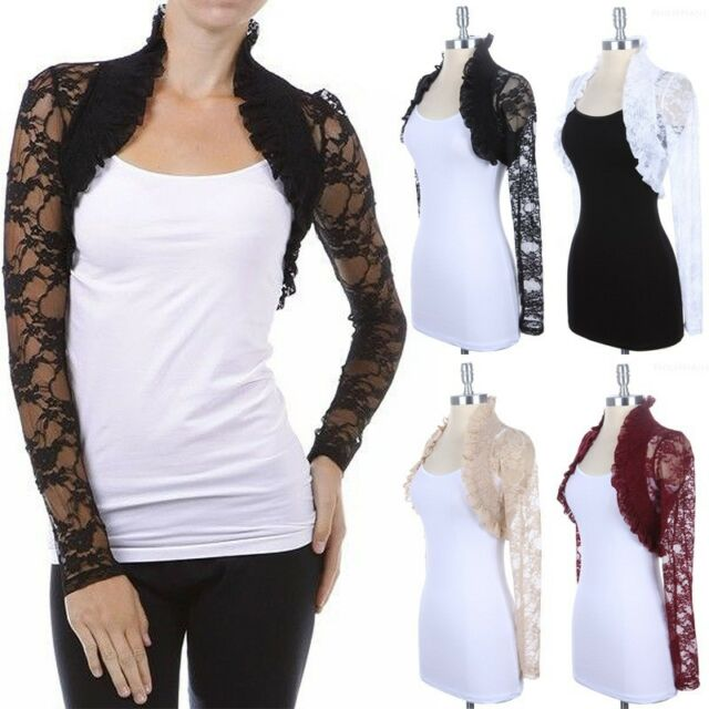 Lace Long Sleeve SHRUG BOLERO Ruffle Open Crochet Cardigan Jacket Top S~3XL