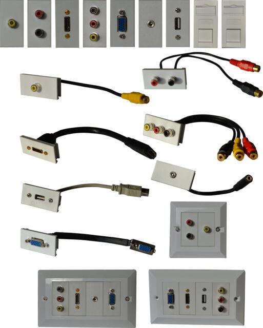 Modular Stub Cables HDMI USB AUX JACK RCA PHONO VGA CAT5e 6 Keystones Faceplates