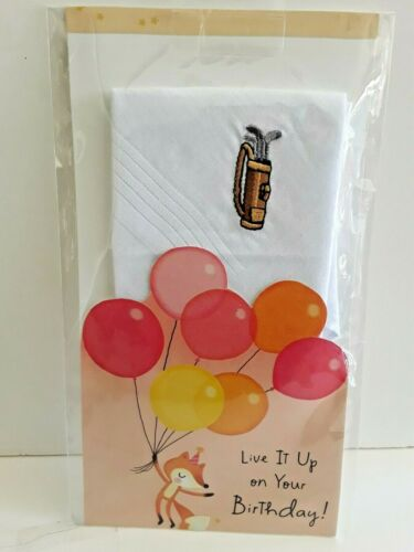 """New 100/% Cotton /""""Golf/"""" Handkerchief Occasion Card Details about  /Men/'s Embroidered"""
