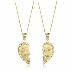 a89f70e3dc 14K Solid Yellow Gold I Love You Half Heart Necklace Pendant +2 ...