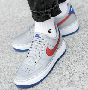 web Absorbente acidez  MENS NIKE AIR FORCE 1 '07 LV8 SIZE 6 EUR 39 (CD7339 001) GREY/ BLUE/ RED |  eBay