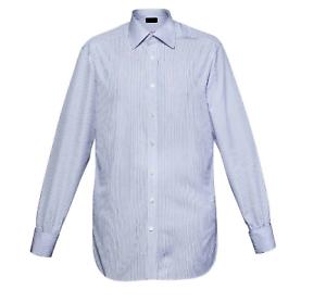 Henri Ross Mens Formal Shirt bluee White Pinstripe LS Buttons Collar Size 16