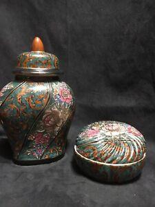 Vintage Asian Porcelain Lidded Ginger Jar & Lidded Trinket Dish Macau 1980's